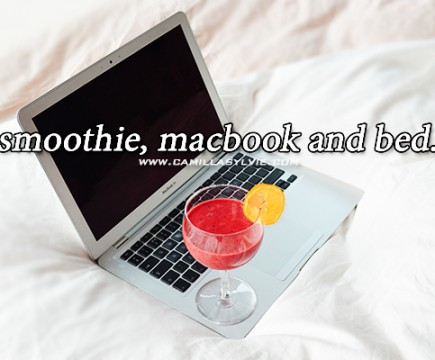 smoothie, macbook, air, lazy, sunday, bed, blankets